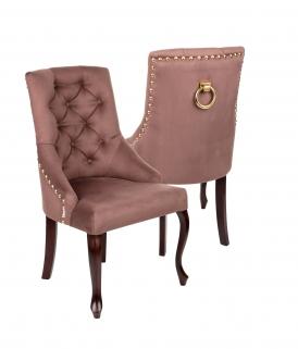 Krzesło Sisi 3 z pinezkami i kołatką, nogi Ludwik