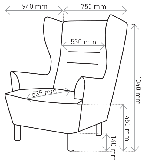 Fotel Muno wymiary